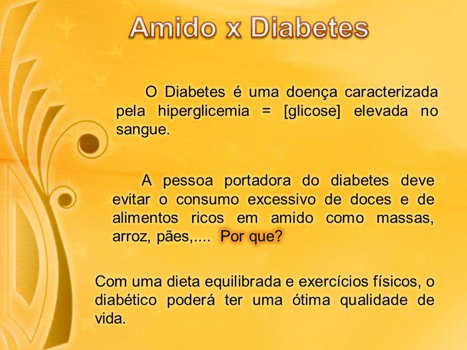 Amido x Diabetes O Diabetes é uma doença caracterizada pela hiperglicemia = [glicose] elevada no sangue.